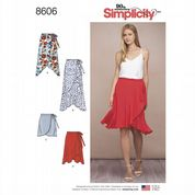 8606 Simplicity Pattern: Misses' Wrap Skirts with Ruffle